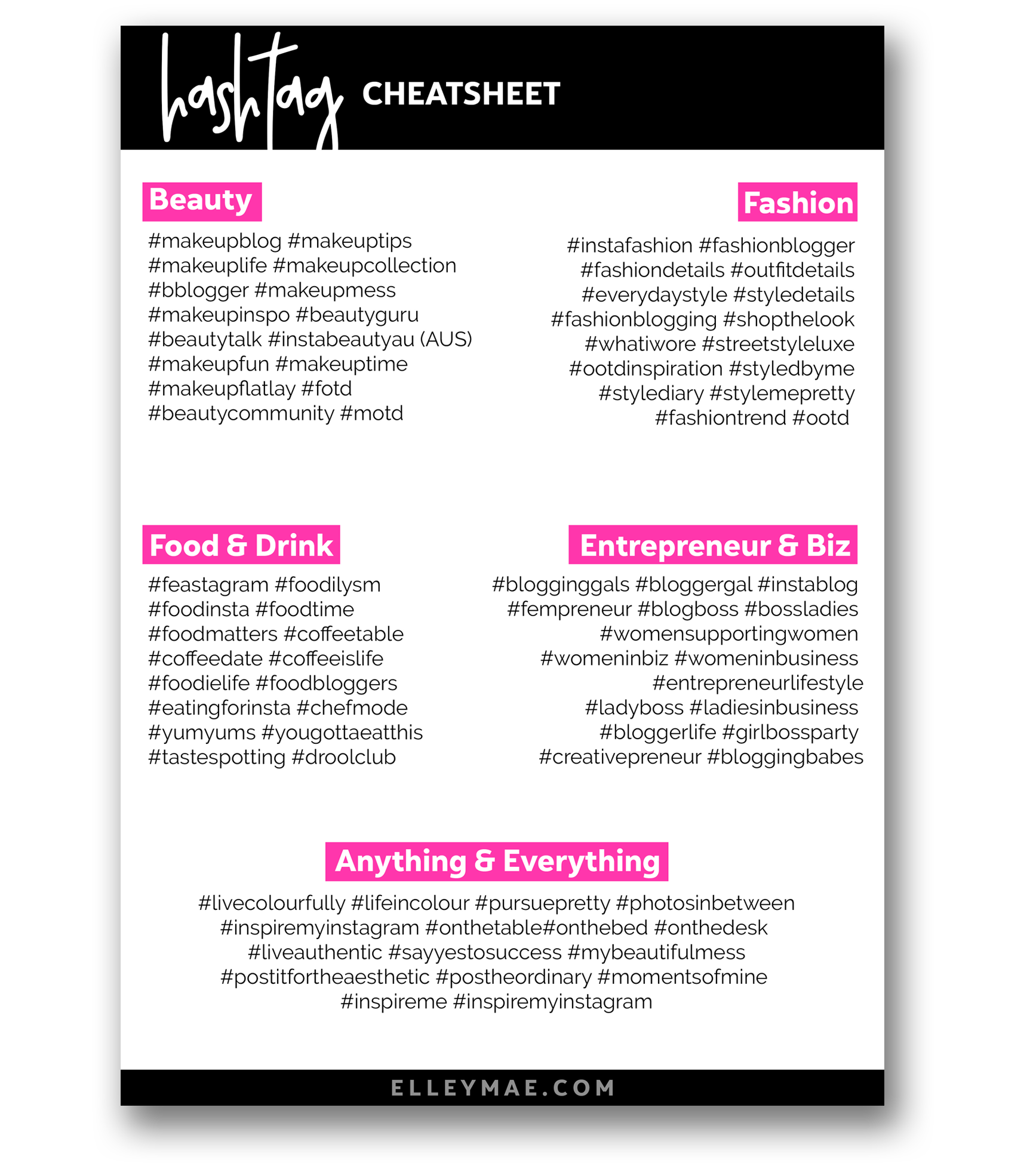 80 Killer Instagram Hashtags to boost your Instagram engagement - Download the free hashtag cheatsheet to grow your Instagram, get Instagram followers & just become an all-round Instagram superstar. Free from ElleyMae.com