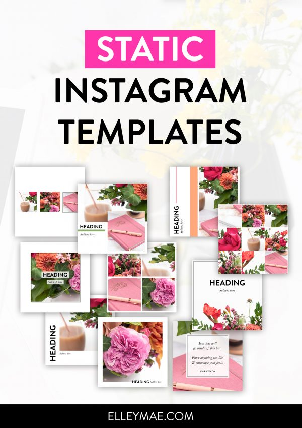 Static Instagram Post Templates - Customisable Photoshop Templates by ElleyMae.com