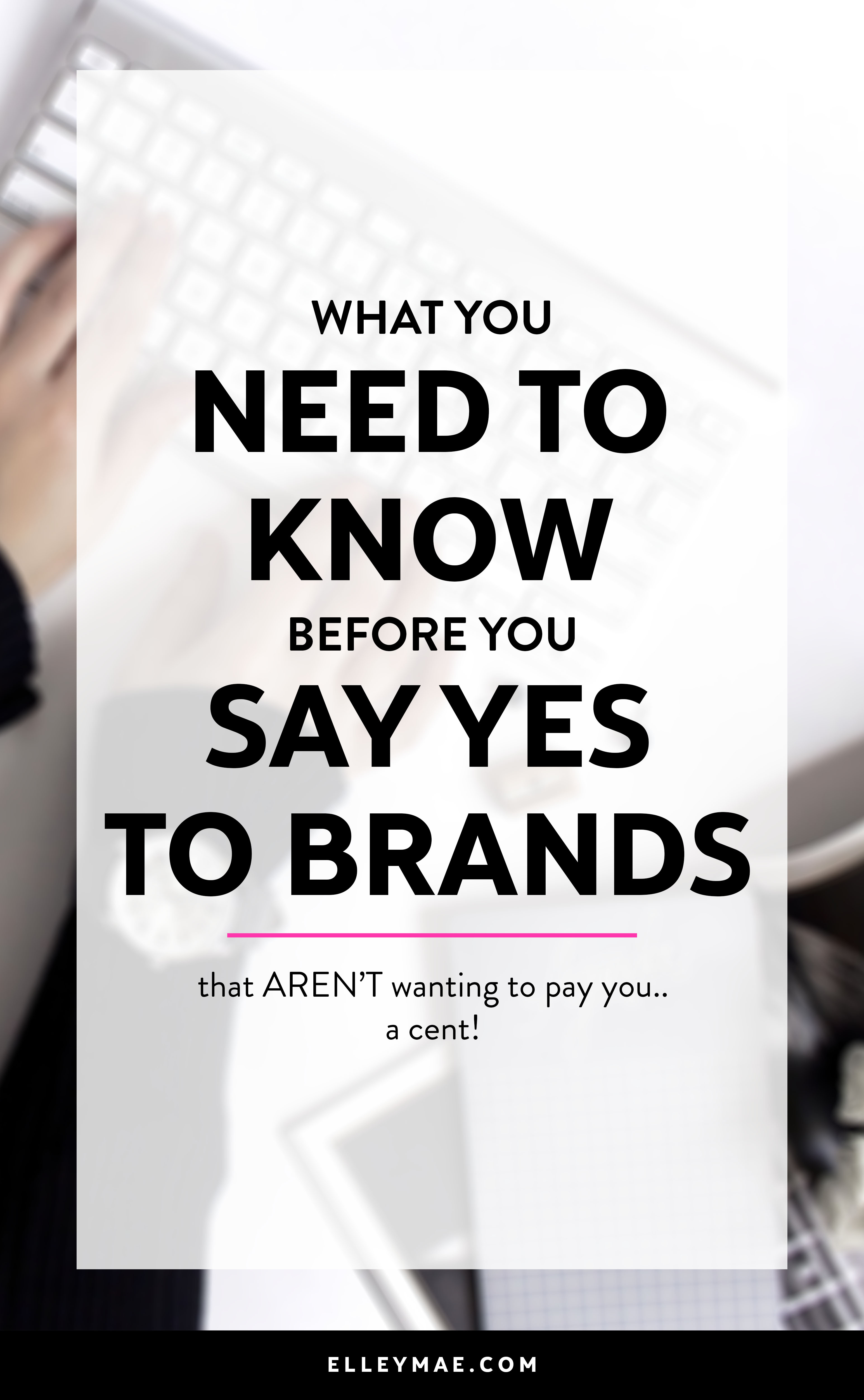 Everyone loves getting free stuff right?! Well, when it comes to being an Instagram Influencer, free product offers are a normal part of the day-to-day. But, should we be accepting every free product offer? Learn when & why you should actually be saying no to brands & why   Learn more at ElleyMae.com   #instagraminfluencer #freeproducts #workwithbrands