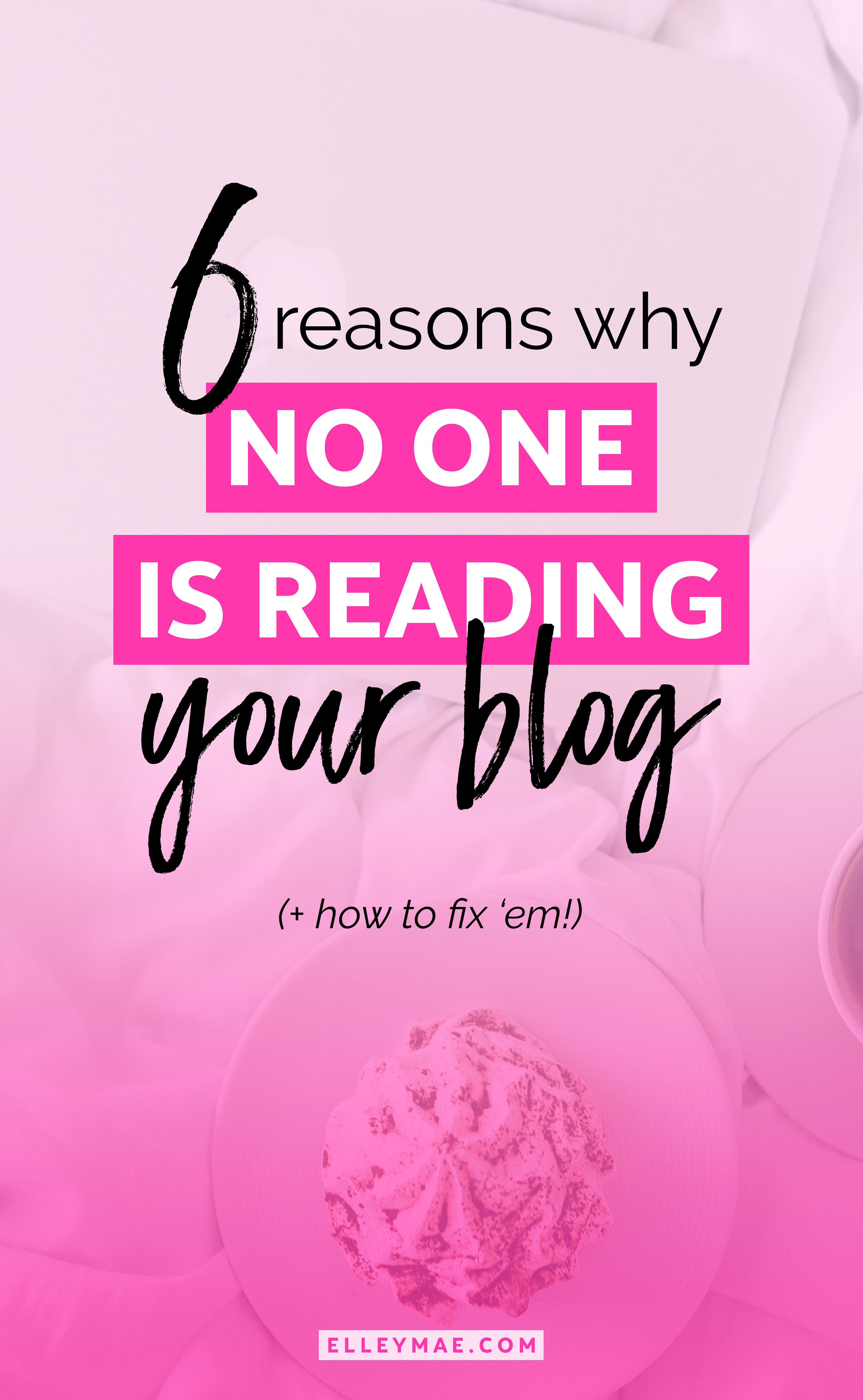 No one reading your blog? Here's 6 reasons why!   Want to know how to get traffic to your blog, grow your audience & increase your influence? Here's your chance! Learn 6 ways to grow your blog traffic now on ElleyMae.com   Blogging Tips, Blog Ideas, Blog Traffic Tips, Grow Your Blog Traffic, Grow My Blog Traffic, Blog Strategy, Traffic Ideas, Traffic Tips   ElleyMae.com