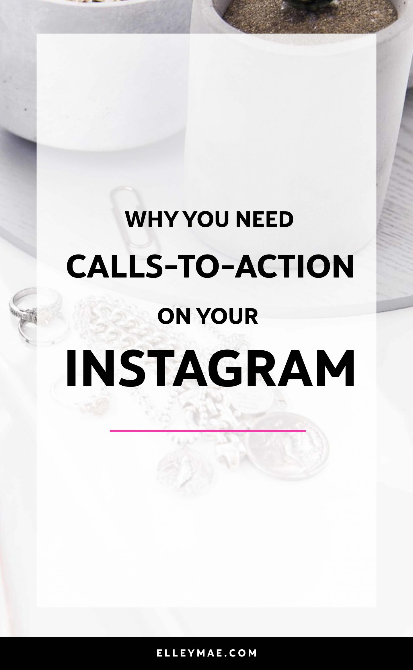 Are you sick of creating wicked Instagram captions that are ultimately actually doing NOTHING to your engagement?! Yep, I've been there. Writing Instagram captions doesn't have to be as difficult as it's made out to be - in fact, by using call-to-actions in your Instagram captions, you're bound to increase your engagement, build trust with your audience & possibly even make sales! Can I get a boo-yeah?! So, click to learn more about call-to-actions on Instagram and why they can turn your Insta around in a flash! ElleyMae.com