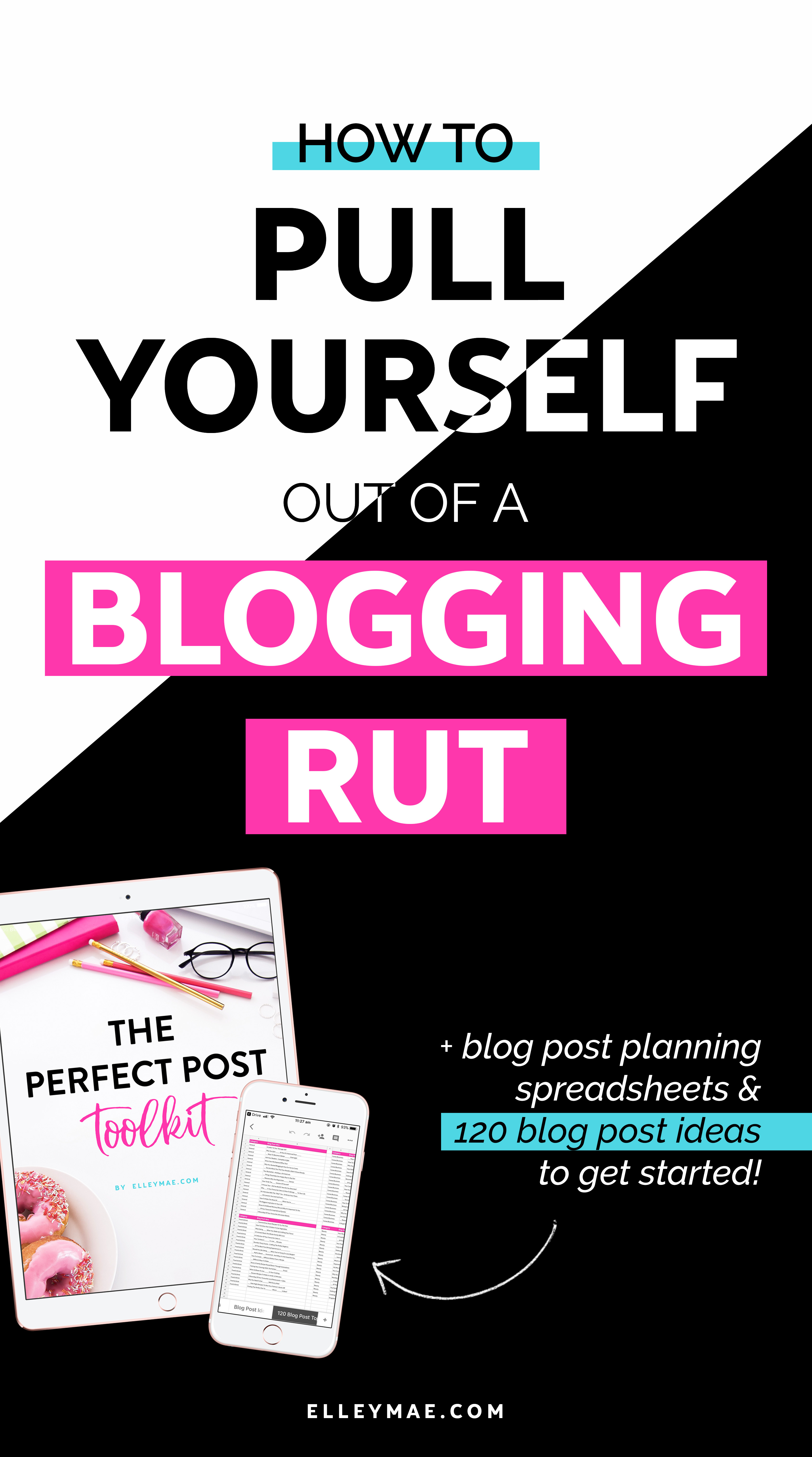 Being in a blogging rut freakin' sucks, right?! Well, no more do you have to feel like you're failing. No more do you have to search for blog post ideas endlessly on Pinterest. In this post you'll learn 3 of the best ways to grow your blog, organise your blog & score over 120 blog post ideas (+ blog post planner sheets!)   blog post ideas, blog planner, blog planner printable, blog printable, blogging rut, in a rut #blogpostideas #blogplanner #planner #blogideas   ElleyMae.com