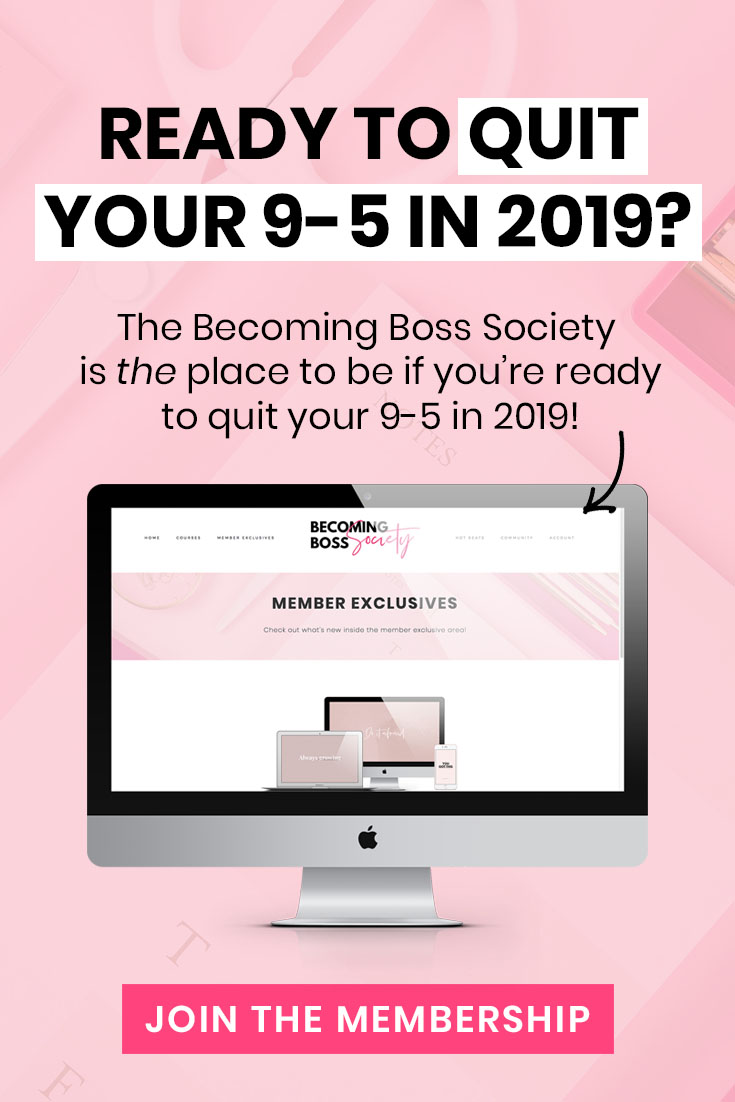 Are you ready to take your side-hustle full-time? Do you want to quit your 9-5 and work from home? Girl, I hear you! Make 2019 your year to quit your day job & take your side-hustle to a full-time status! I quit my day job in less than 12 months and now make a living helping other ladies to do the same! | Work From Home, Quit Your Day Job, Quit Your 9-5, Side-Hustle, Full-Time Blogger, Full-Time Entrepreneur, Digital Nomad | ElleyMae.com