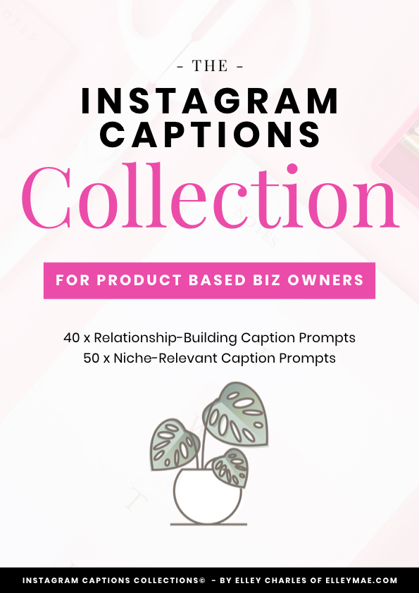 90 Optimised Instagram Captions for Product Based Business Owners wanting to make an impact in the online space! These Instagram caption prompts are ideal for female entrepreneurs who have a hard time with content creation and growing their Instagram followers & increasing Instagram engagement. Created by Elley from ElleyMae.com | Instagram Captions, Instagram Caption Ideas, Content Creation, Instagram Engagement, Instagram Followers, Social Media Content #instagram #instagramcaptions
